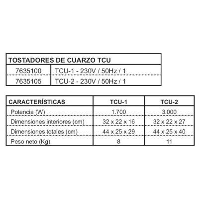 TOSTADORA DE CUARZO TCU-2