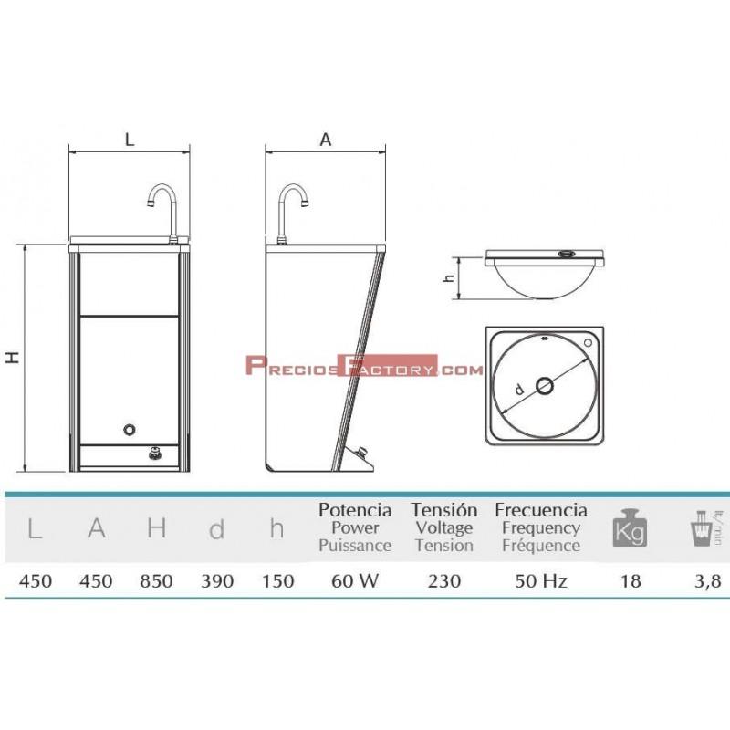 Lavamanos registrable aut nomo el ctrico un pulsador agua fr a for Lavamanos sin instalacion
