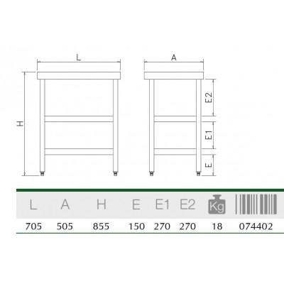 Mesa central con 2 entrepaños 705x505x855 mm.