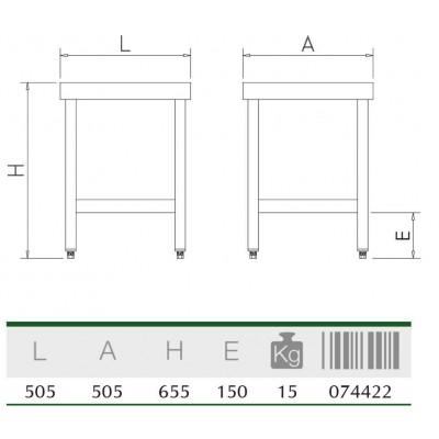 Mesa central con entrepaño 505x505x655 mm.