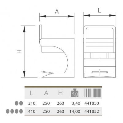 Aplasta-hamburguesas (para 4 uds.) 410x260x250 mm