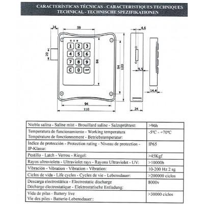 Cerradura electrónica para taquilla