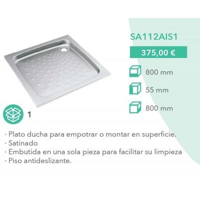 Plato ducha acero inoxidable 800x800 mm