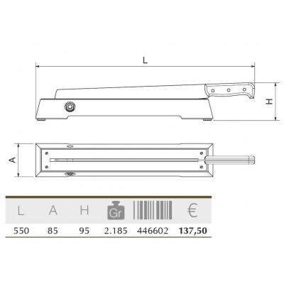 Bacaladera 550x80x100 mm.