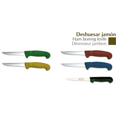 Cuchillo deshuesar jamón mango inyectado de colores