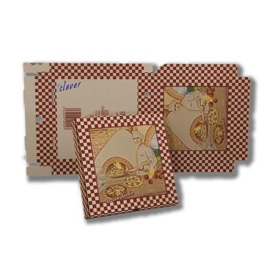 Caja pizza fácil montaje 100 unidades. 24x24 cm