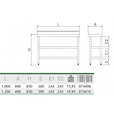 Mesa mural sotabanco con 2 entrep. 1200x400x850 mm