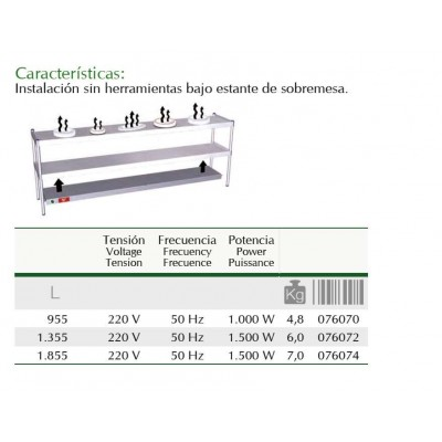 Kit para calentar estante de sobremesa de 1391 mm