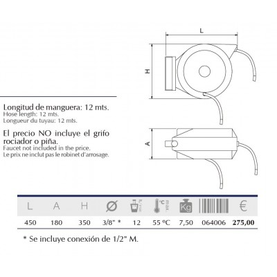 Grifo manguera enrrollable profesional 12 metros