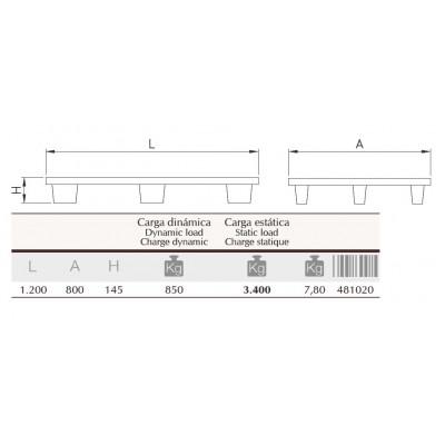 Europalet encajable liso 1200x800x145 mm