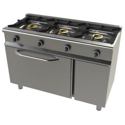Cocina a gas 3 fuegos y horno con grill