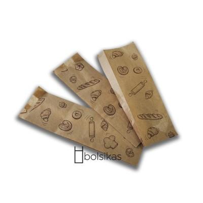 Bolsa de papel kraft para panadería 9+5x30cm, para media baguette. 2000 ud