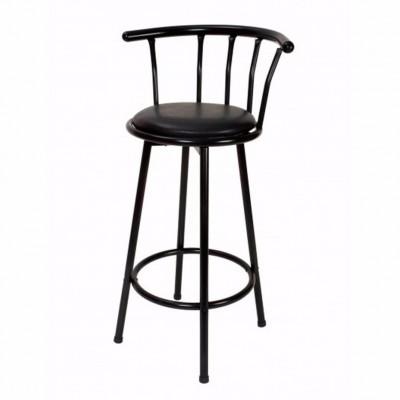 Taburete Brice asiento giratorio negro acolchado