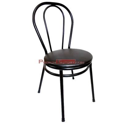 Silla Bistrot negra asiento acolchado polipiel