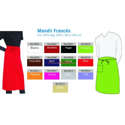Mandil Francés blanco o color