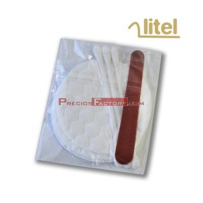 3 bastoncillos, 1 lima de uñas y 3 discos de algodón envasados en flow pack, especial para hoteles. Caja de 100 kits