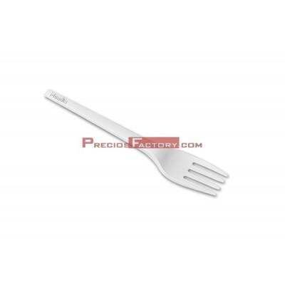 Tenedor PLA compostable blanco bioplástico, cubierto écologico. 1000 UD
