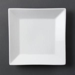 Plato cuadrado con borde ancho blanco Olympia c360