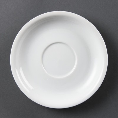 Platos de taza de capuchino blancos 160mm Olympia. 12 ud. cb463