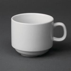 Tazas de t' apilables blancas 210ml Olympia. 12 ud. cb467