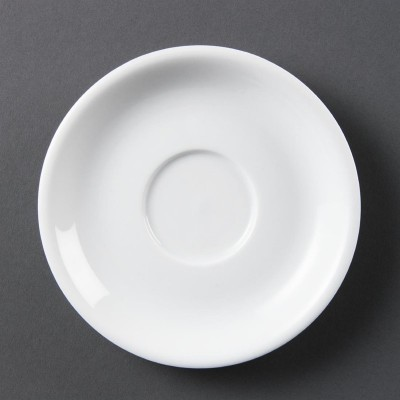 Platos de taza de capuchino blancos Olympia. 12 ud. cb470
