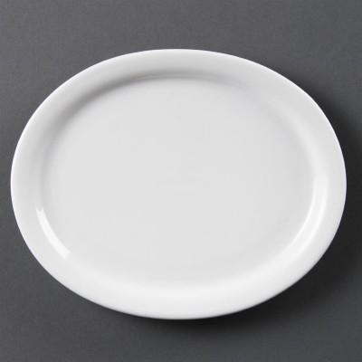 Fuentes ovaladas blancas 200mm Olympia. 6 ud. cb476