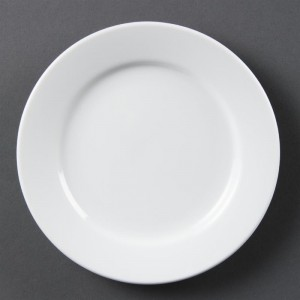 Platos con borde ancho blancos 165mm Olympia. 12 ud. cb478