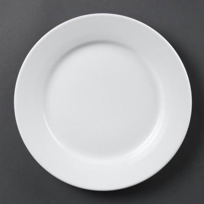 Platos con borde ancho blancos 250mm Olympia. 12 ud. cb481