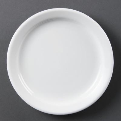 Platos con borde estrecho blancos 180mm Olympia. 12 ud. cb487
