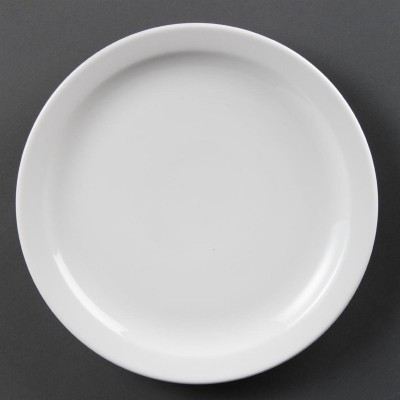 Platos con borde estrecho blancos 250mm Olympia. 12 ud. cb490