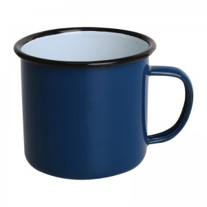 Taza esmaltada Olympia azul negro 350ml (Caja 6). 6 ud. dc394