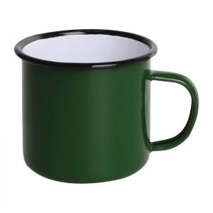 Taza esmaltada Olympia verde negro 350ml (Caja 6). 6 ud. dc396