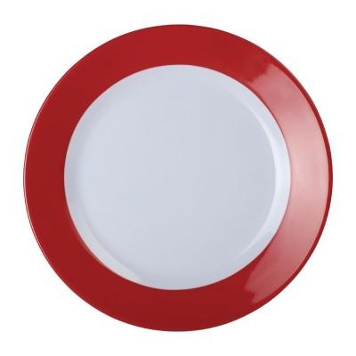 Platos llanos melamina Kristallon Gala borde rojo 195()mm (Caja 6). 6 ud. de600