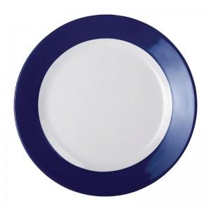 Platos llanos melamina Kristallon Gala borde azul 260()mm (Caja 6). 6 ud. de607