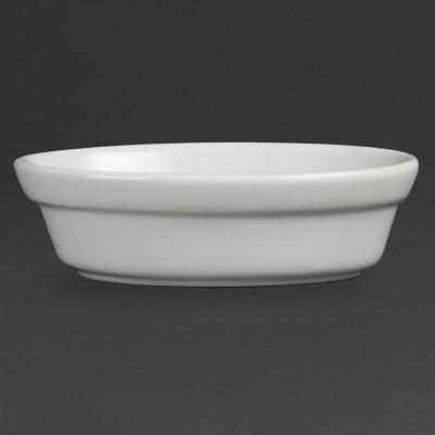 Bols de pastel inclinados ovalados blancos 145 x 104mm Olympia. 6 ud. dk806