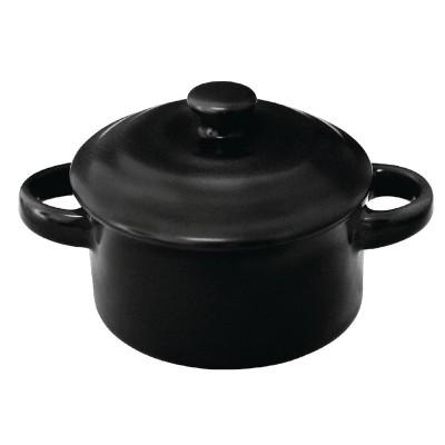 Mini cacerolas redondas negras 75 x 85mm Olympia. 4 ud. dk820