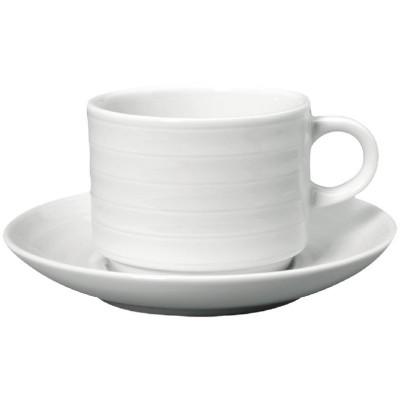 Taza de te Intenzzo apilable porcelana blanca 260ml con plato (Caja 4). 4 ud. gr025