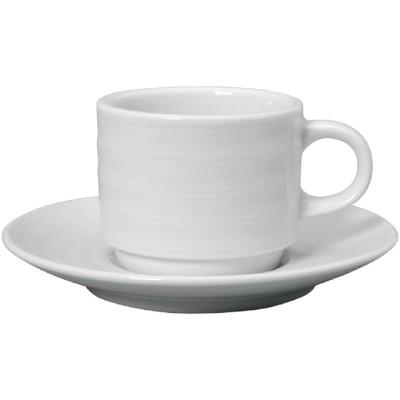 Taza cafe solo Intenzzo porcelana blanca 110ml con plato (Caja 4). 4 ud. gr027