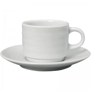 Taza caf' solo Intenzzo porcelana blanca 110ml con plato (Caja 4). 4 ud. gr027