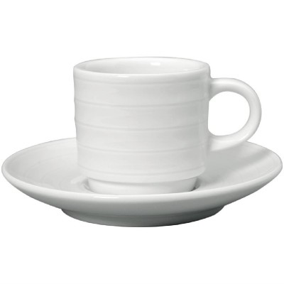 Taza cafe solo Intenzzo porcelana blanca 80ml con plato (Caja 4). 4 ud. gr028