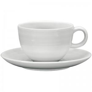 Taza t' Intenzzo porcelana blanca 260ml con plato (Caja 4). 4 ud. gr030