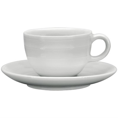 Taza cafe solo apilable Intenzzo porcelana blanca 110ml con plato (Caja 4). 4 ud. gr031