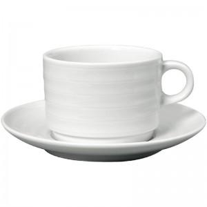 Taza desayuno Intenzzo porcelana blanca 320ml con plato (Caja 4). 4 ud. gr033