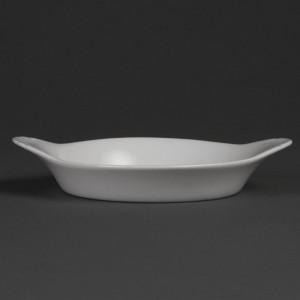 Platos ovalados redondeados con asas blancos 192 x 151mm Olympia. 6 ud. w444