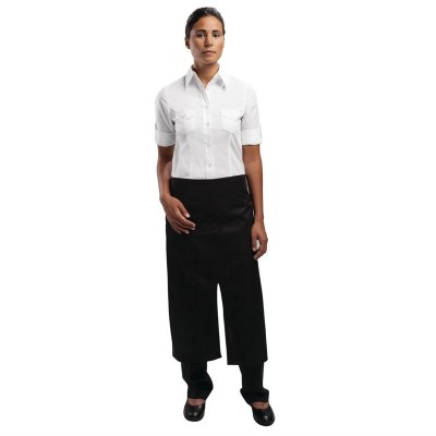 Delantal de bistro con frontal dividido y bolsillo Uniform Works a969