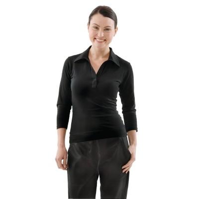 Camisetas femeninas con cuello en V negras Uniform Works b038