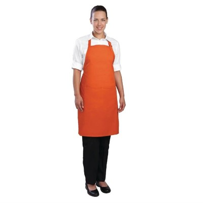 Delantal con peto Chef Works cuello ajustable naranja b195