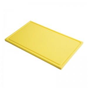 Tabla corte Gastro-M PE alta densidad GN 1/2 15mm borde acanalado amarilla gn321
