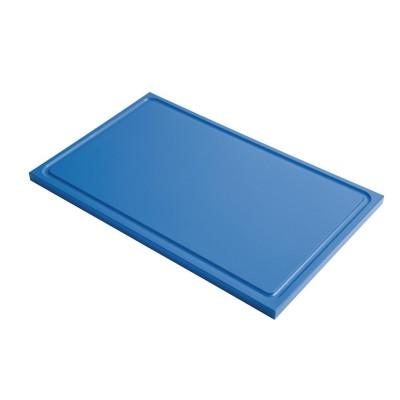 Tabla corte Gastro-M PE alta densidad GN 1/1 15mm borde acanalado azul gn336