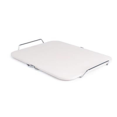 Bandeja piedra rectangular para pizza con soporte metal cl713